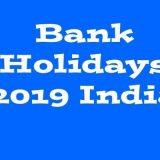 Bank Holidays 2019